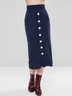 High Rise Buttoned Midi Knit Skirt - Deep Blue S