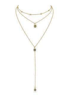Rhinestone Layer Pendant Chain Necklace - Gold