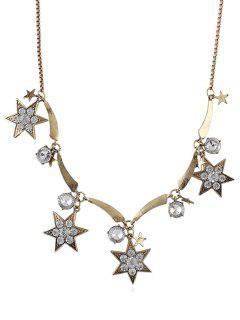 Collar De Cadena De Hexagrama De Diamantes De Imitación - Oro