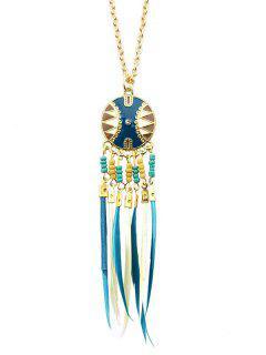 Collar Colgante De Flecos Con Cuentas - Azul Claro