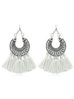 Bohemian Tassel Drop Earrings - White