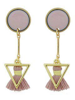 Disc Triangle Tassels Long Earrings - Pink