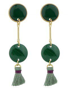 Disc Tassels Long Earrings - Green