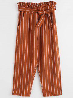 Ruffles Striped Straight Pants - Light Brown M