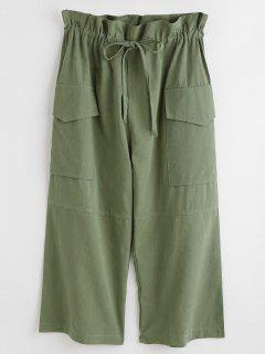 Drawstring Pocket Crop Pants - Fern Green