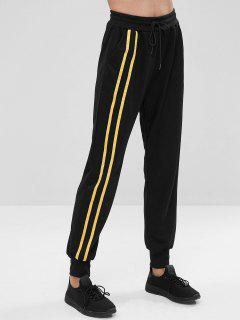 Side Pockets Stripe Sweat Jogging Pants - Black L