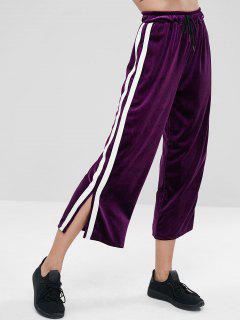 Side Split Stripe Velvet Wide Leg Pants - Purple M