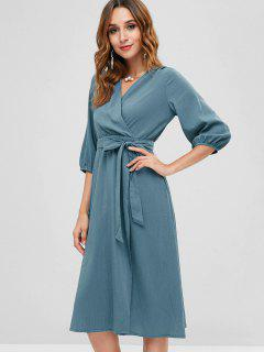 V Neck Belted Surplice Dress - Greenish Blue