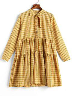 Long Sleeve Tartan Shirt Dress - Yellow
