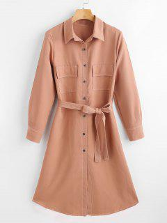 Belted Midi Shirt Dress - Orange Salmon L