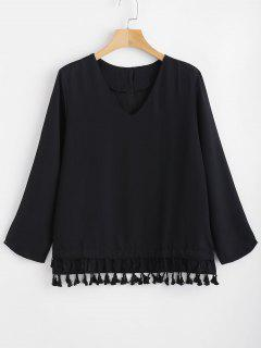 Layered Tassels Blouse - Black L