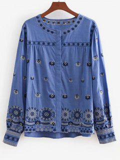 Button Up Floral Embroidered Chambray Smock Top - Blue S