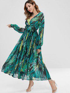 Maxi Robe Superposée Palmier Avec Ceinture - Vert Forêt Moyen S