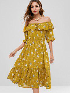 Ruffles Floral Off Shoulder Dress - Golden Brown L