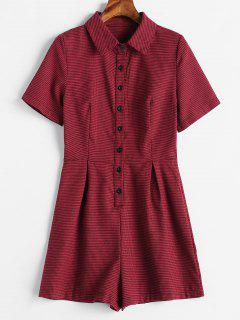 Short Sleeve Houndstooth Romper - Red Wine L