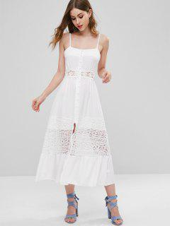 Crochet Flower Panel Button Front Midi Dress - White S