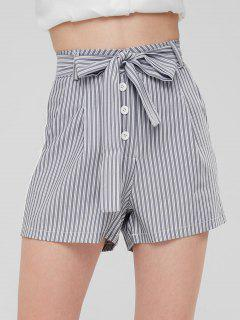 Striped Pockets High Waisted Belted Shorts - Gray M