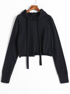 Raglan Sleeve Cropped Hoodie - Black
