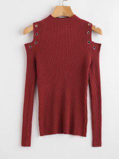 Grommets Trim Cold Shoulder Sweater - Red Wine M