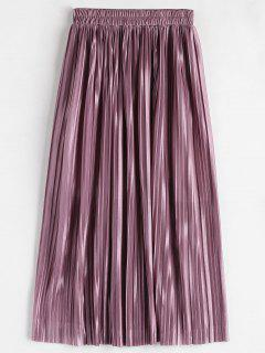 High Waisted Pleated Skirt - Pale Violet Red