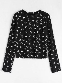Moon Print Long Sleeve T-shirt - Black
