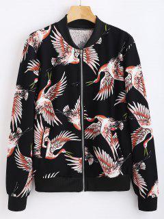 Crane Print Zip Up Jacket - Black M