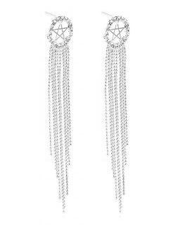 Rhinestone Estrella Con Flecos Pendientes - Blanco