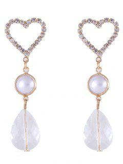Pendientes Colgantes De Perlas De Imitación De Corazón De Diamantes De Imitación - Oro