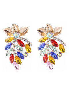 Rhinestone Con Incrustaciones De Elegantes Pendientes Florales - Multicolor