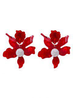 Pendientes De Diamantes De Imitación Florales - Castaño Rojo