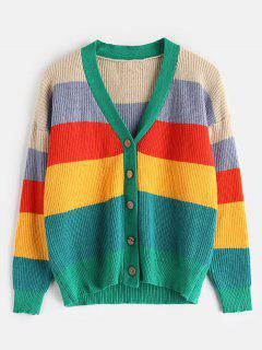 Multicolored Stripe Button Front Cardigan - Multi