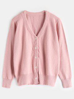 V Neck Button Front Cardigan - Pink