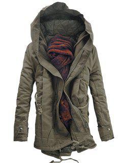 Hooded Padded Double Zip Up Parka Coat - Dark Khaki M