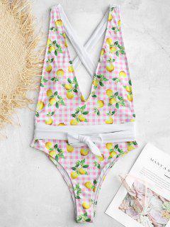 ZAFUL Lemon Plaid Backless Swimsuit - Multi S