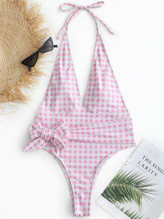ZAFUL Plaid Bowknot Halter Swimsuit - Pig Pink M