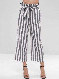 Wide Leg Striped Belted Pants - Multi M