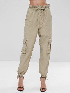Drawstring Side Pockets Pants - Light Khaki