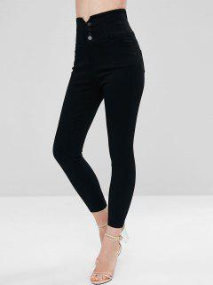 Skinny High Waisted Pants - Black L