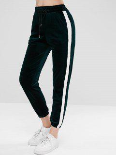 Velvet Side Stripe Sporty Joggers Pants - Dark Forest Green M