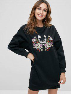 Embroidered Graphic Sweatshirt Dress - Black Xl