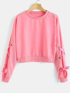 Ribbons Lace-up Sweatshirt - Pink S