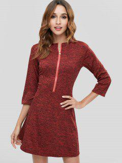 Space Dye Zip Casual Tee Dress - Red Wine M
