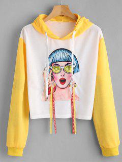 Graphic Beaded Floral Applique Hoodie - White S