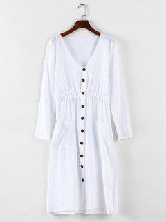 Button Detail Drop Pockets Dress - White L