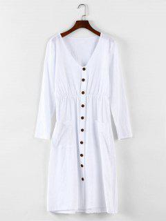 Button Detail Drop Pockets Dress - White M