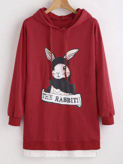 Rabbit Graphic Faux Twinset Hoodie - Red M