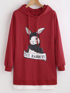 Rabbit Graphic Faux Twinset Sudadera Con Capucha - Rojo L