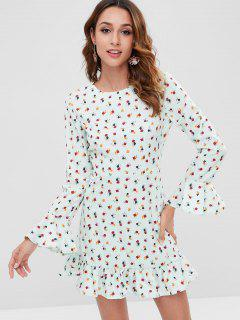 Flounce Flare Sleeve Floral Dress - Multi L
