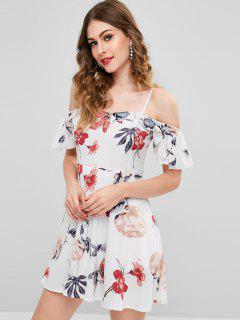 Floral Print Ruffle Mini Dress - White S