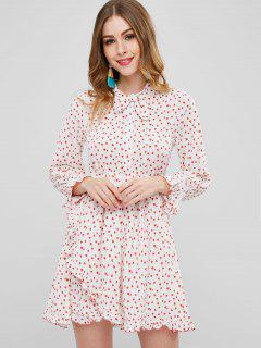 Heart Print Asymmetric Bowtie Dress - White